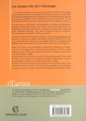 Notions Cles De L'Ethnologie ; 2e Edition - 4ème de couverture - Format classique