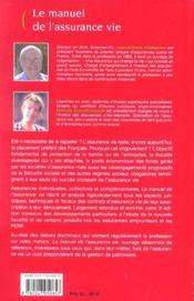 Le manuel de l'assurance vie (3e édition) - 4ème de couverture - Format classique
