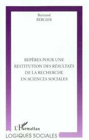 Reperes Pour Une Restitution Des Resultats De La Recherche En Sciences Sociales - Intérieur - Format classique