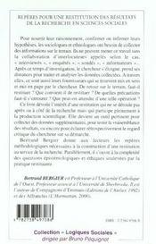 Reperes Pour Une Restitution Des Resultats De La Recherche En Sciences Sociales - 4ème de couverture - Format classique