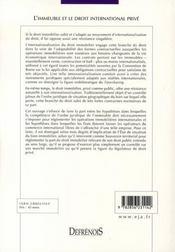 L'immeuble et le droit international privé - 4ème de couverture - Format classique