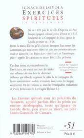 Exercices spirituels ; le testament - Couverture - Format classique