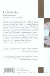 Le jardin clos - 4ème de couverture - Format classique