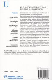 Le christianisme antique ; de Jésus à Constantin (2e édition) - 4ème de couverture - Format classique