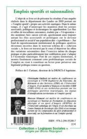 Emplois sportifs et saisonnalités ; l'économie des activités nautiques : enjeux de cohésion sociale - 4ème de couverture - Format classique