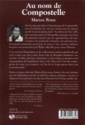 Au Nom De Compostelle - 4ème de couverture - Format classique