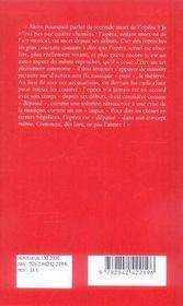 La seconde mort de l'opéra - 4ème de couverture - Format classique