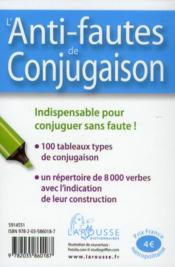 L'anti-fautes de conjugaison - 4ème de couverture - Format classique