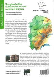 Nos plus belles randonnées sur les sommets du Jura - 4ème de couverture - Format classique