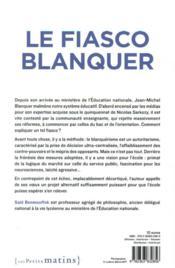 Le fiasco Blanquer - 4ème de couverture - Format classique