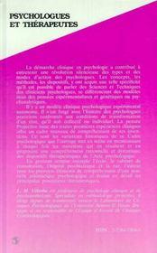 Psychologues Et Therapeutes ; Sciences Et Techniques Cliniques En Psychologie - 4ème de couverture - Format classique