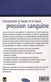 Comprendre la haute et la basse pression sanguine - 4ème de couverture - Format classique