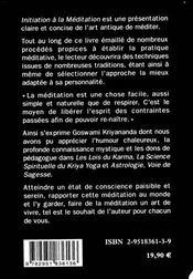 Initiation A La Meditation - 4ème de couverture - Format classique