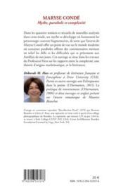 Maryse Condé ; mythe, parabole et complexité - 4ème de couverture - Format classique