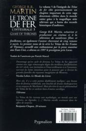 Le trône de fer ; INTEGRALE VOL.5 - 4ème de couverture - Format classique
