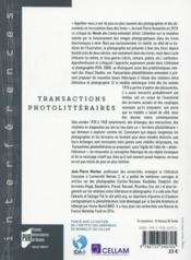 Transactions photolittéraires - 4ème de couverture - Format classique
