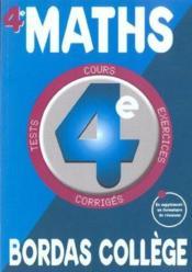 Mathematiques ; 4e - Couverture - Format classique