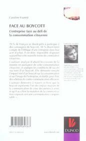 Face Au Boycott. L'Entreprise Face Au Défi De La Consommation Citoyenne - 4ème de couverture - Format classique