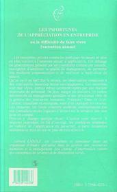Les Infortunes De L'Appreciation En Entreprise Ou La Difficulte De Faire Vivre L'Entretien Annuel - 4ème de couverture - Format classique