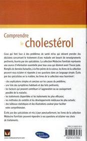 Comprendre le cholestérol - 4ème de couverture - Format classique