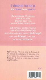 L'amour infidèle ; un couple deux libertés - 4ème de couverture - Format classique