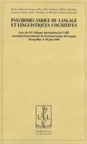 Psychomécanique du langage et linguistiques cognitives - Couverture - Format classique