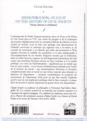 Adam Ferguson, an essay on the history of civil society ; t.2 nature, histoire et civilisation - 4ème de couverture - Format classique