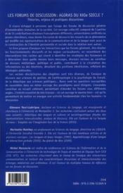Les forums de discussion : agoras du XXI siècle ? theories enjeux et pratiques discursives - 4ème de couverture - Format classique
