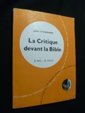 La Critique devant la Bible - Couverture - Format classique