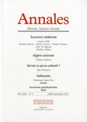 ANNALES HISTOIRE SCIENCES SOCIALES N.66/3 ; économie médiévale, Algérie coloniale, qu'est-ce qu'un collectif ? ; Halbwachs - Couverture - Format classique