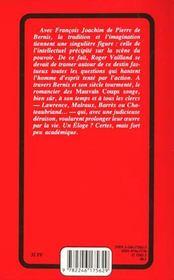 Éloge du cardinal de Bernis - 4ème de couverture - Format classique