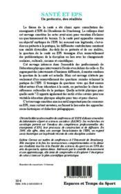 Santé et EPS ; un prétexte des réalites - 4ème de couverture - Format classique