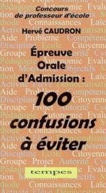 Concours de professeur d'ecole ; epreuve orale d'admission - Couverture - Format classique