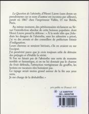 La question de l'absinthe - 4ème de couverture - Format classique