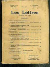 LES LETTRES - N° 12 - TOME II - 1er DECEMBRE 1922 - 4e SERIE - l'action catholique et les Lois laiques: à propos de
