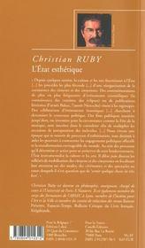 L'état esthétique ; essai sur l'instrumentalisation de la culture et des arts - 4ème de couverture - Format classique