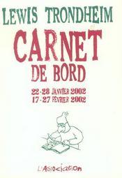 Carnet de bord 2 (22-28/01/02, 17-27/02/02) - Intérieur - Format classique