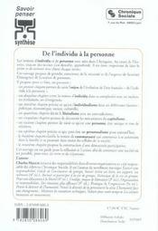 De L'Individu A La Personne - 4ème de couverture - Format classique