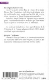 La religion flamboyante ; France (1320-1520) - 4ème de couverture - Format classique