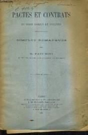 Pactes Et Contrats En Droit Romain Et Byzantin - Simples Remarques. - Couverture - Format classique