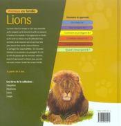 Animaux en famille ; lions - 4ème de couverture - Format classique