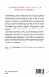Les services sociaux dans le droit de l'union europeenne - 4ème de couverture - Format classique