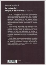 Le potentiel religieux de l'enfant ; de 3 à 6 ans - 4ème de couverture - Format classique
