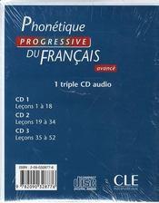 Phonetique progressive fle niveau avance cd - 4ème de couverture - Format classique