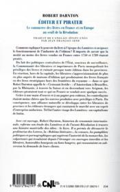Éditer et pirater ; le commerce des livres en France et en Europe au seuil de la Révolution - 4ème de couverture - Format classique