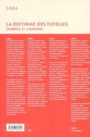 La réforme des tutelles ; ombres et lumières - 4ème de couverture - Format classique