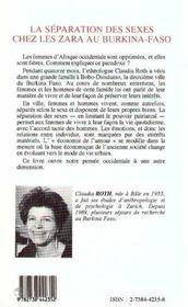 La Separation Des Sexes Chez Les Zara Au Burkina-Faso - 4ème de couverture - Format classique
