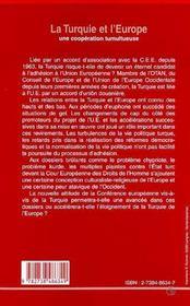 La Turquie et l'Europe ; une coopération tumultueuse - 4ème de couverture - Format classique