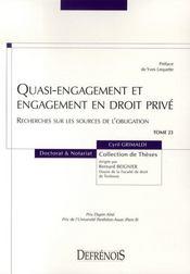 Quasi-engagement et engagement en droit privé - Intérieur - Format classique