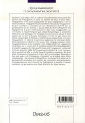 Quasi-engagement et engagement en droit privé - 4ème de couverture - Format classique